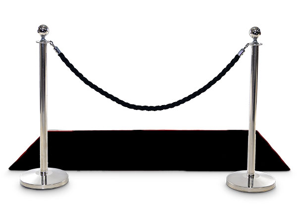 black carpet rope and silver poles