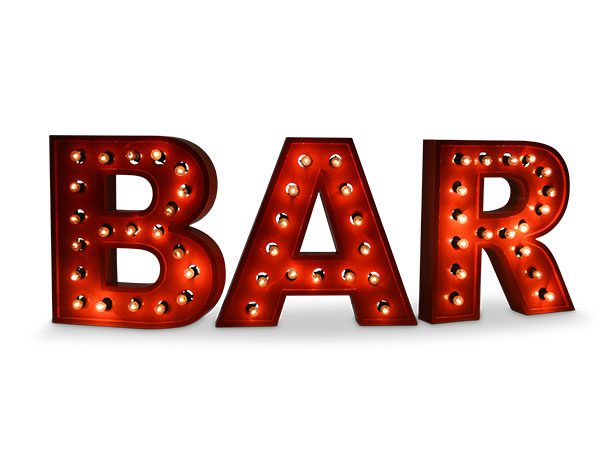 giant light up bar letters hire