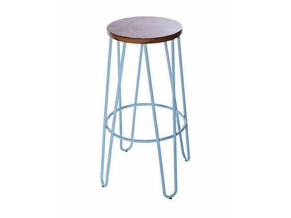 Hairpin Stool-–-Blue with Natural Wood Seat