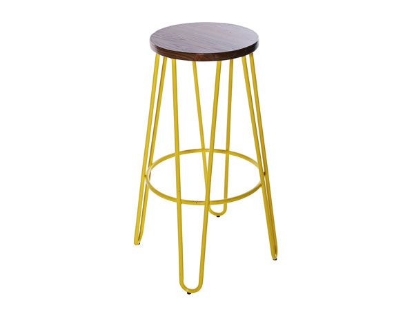 Hairpin Stool-–-Yellow with Natural Wood Seat