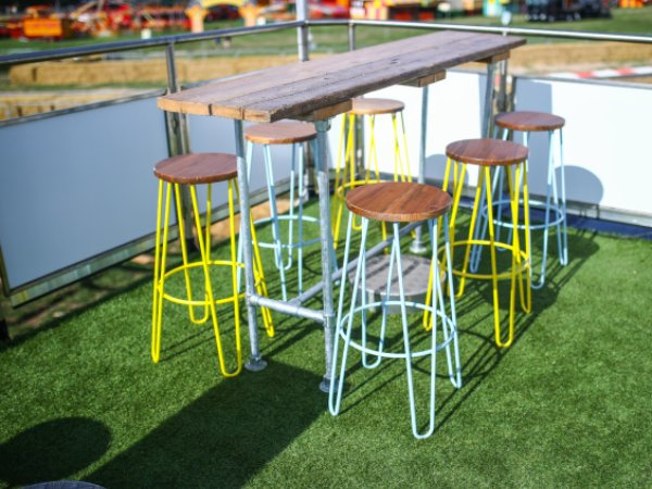 Hairpin Stools, yellow and blue