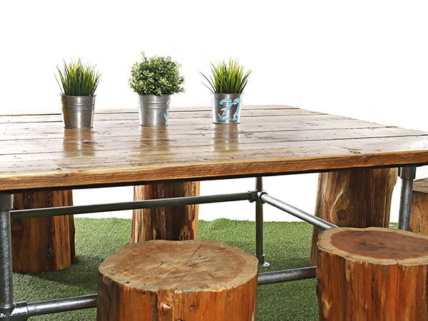 Industrial Scaffold Low Table and log seating