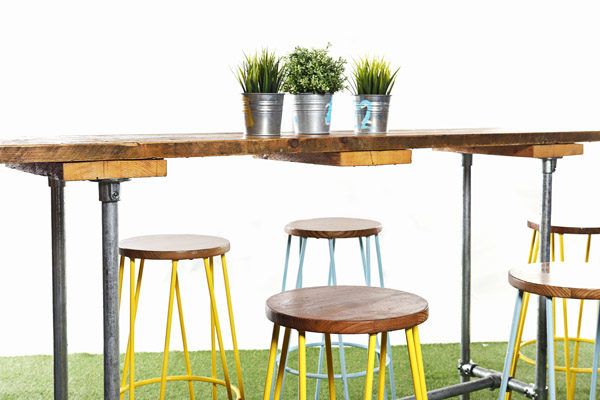 Scaffold Board and Tube Long Poseur Table