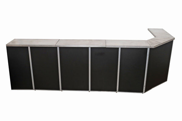 L shape black panel bar hire