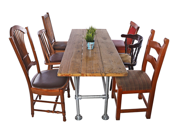 Industrial Scaffold Table And 6 X Mismatch Vintage Chairs