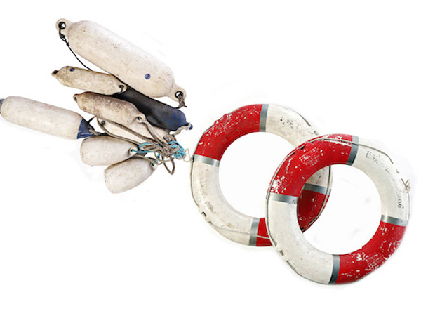 Red and White Life Preserver and Buoys