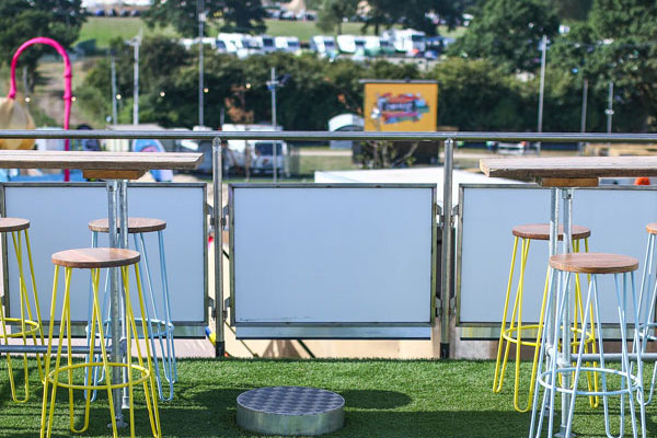 white box structure for hire with stools