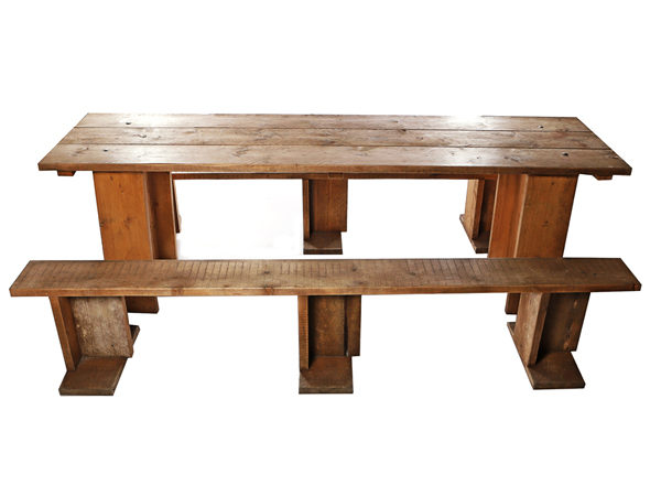 Reclaimed Scaffold Board Table and Benches