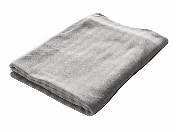 Grey and White Striped Blanket - prop hire