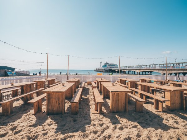 Reclaimed Scaffold Board Tables For Beach Events
