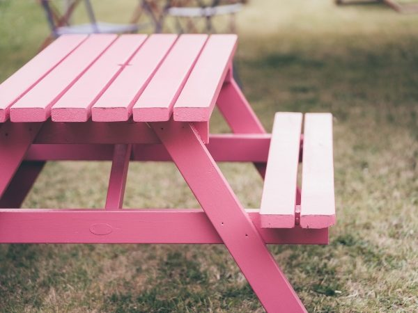 Pink Picnic Bench to hire